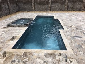 Antique Onyx French Pattern Tumbled Travertine Pavers Pool Deck