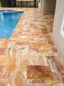 French Pattern Autumn Blend Travertine Paver Pool Deck and Spa