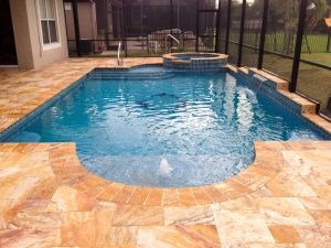 French Pattern Autumn Blend Travertine Pool Deck and Spa