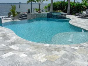 French Pattern SILVER Tumbled Travertine Pavers - Beach Front Pool