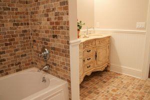 3x6 Cappadocia Tiles (Shower Wall), 2x2 Cappadocia Tumbled Mosaics & 4x4 Cappadocia Tiles (Bathroom Floor)